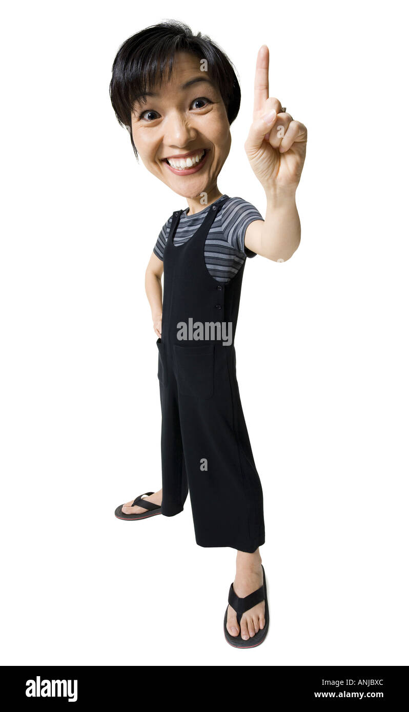 Caricature of a mid adult woman making a hand sign - Stock Image