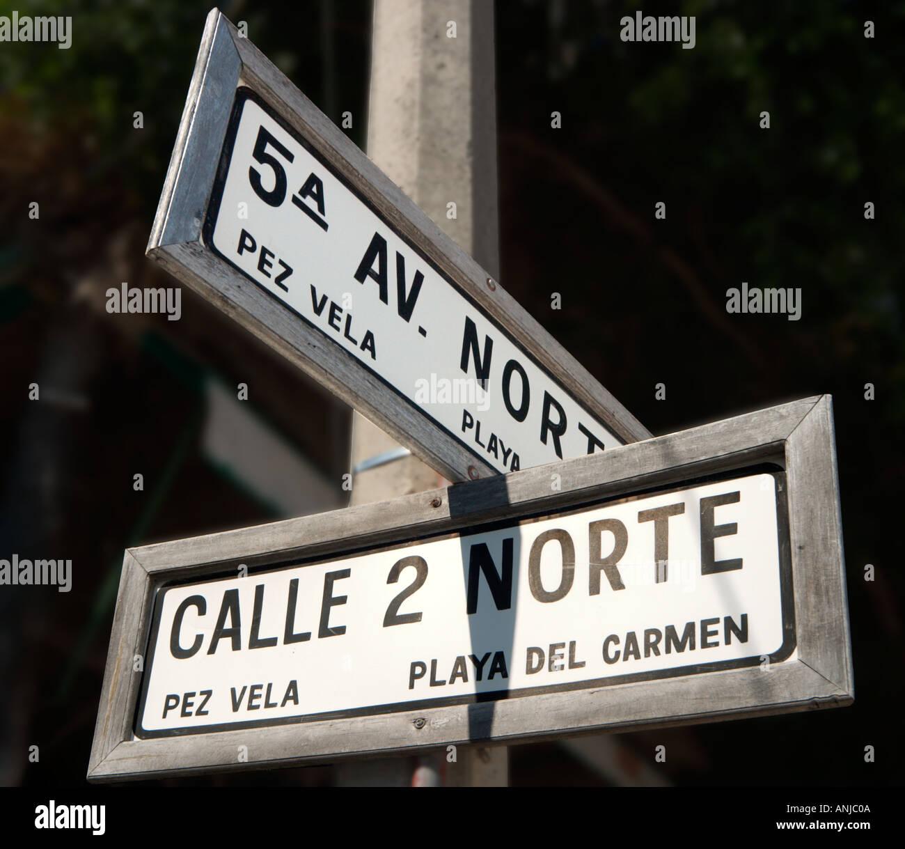 5th Avenue Street Sign, Playa del Carmen, Riviera Maya, Yucatan Peninsula, Mexico - Stock Image