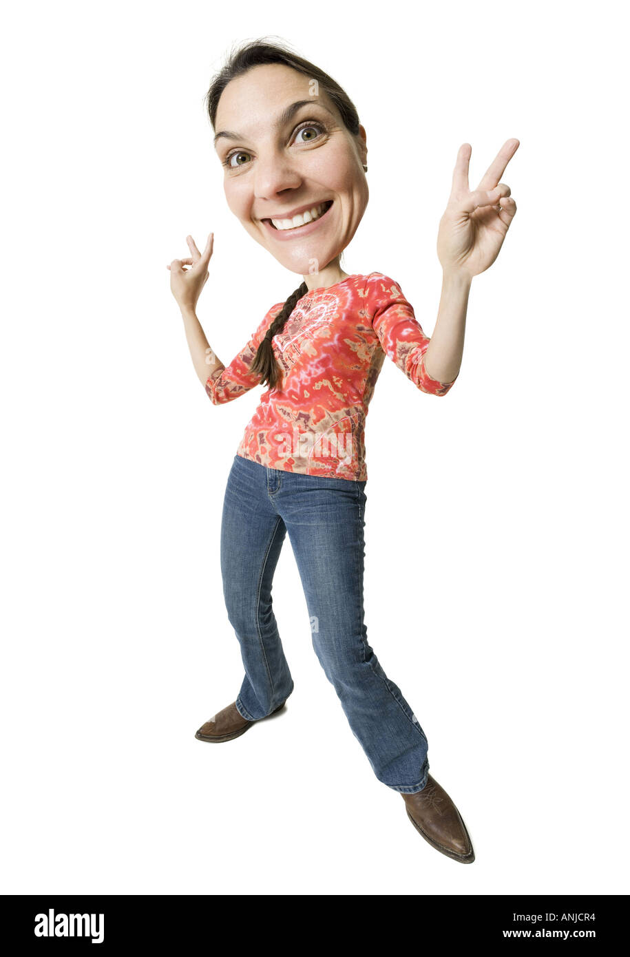 Wide angle caricature of a woman giving peace signs - Stock Image