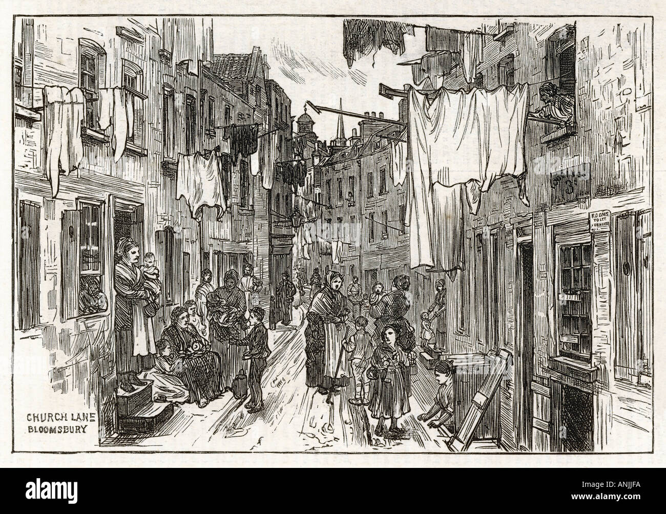 Church Lane Slum 1875 - Stock Image