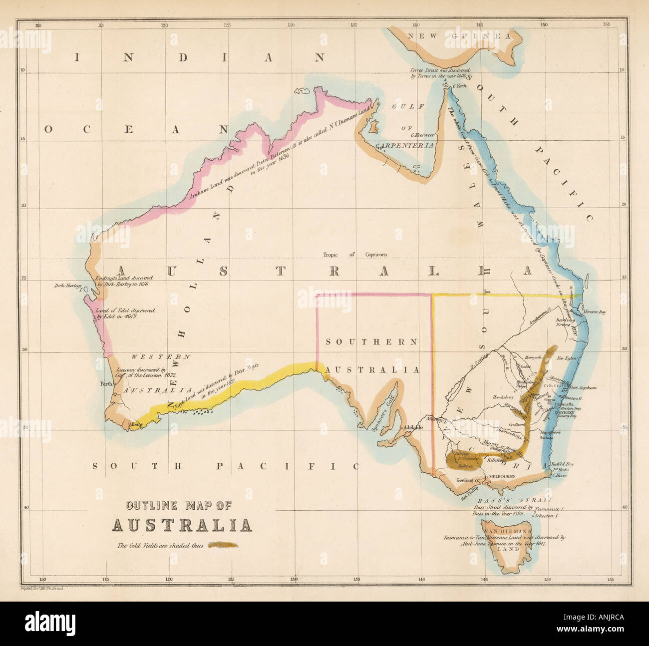 Map Of Australia Gold Rush.Maps Australia 1850s Stock Photo 5074889 Alamy