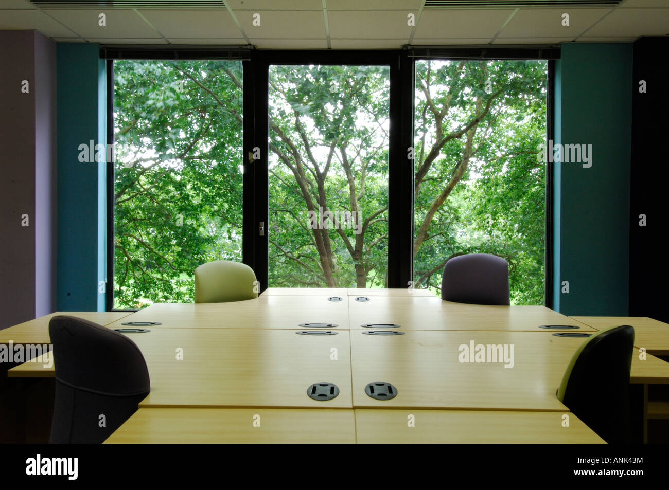 a modern office building empty meeting boardroom committee room with large official table and chairs - Stock Image