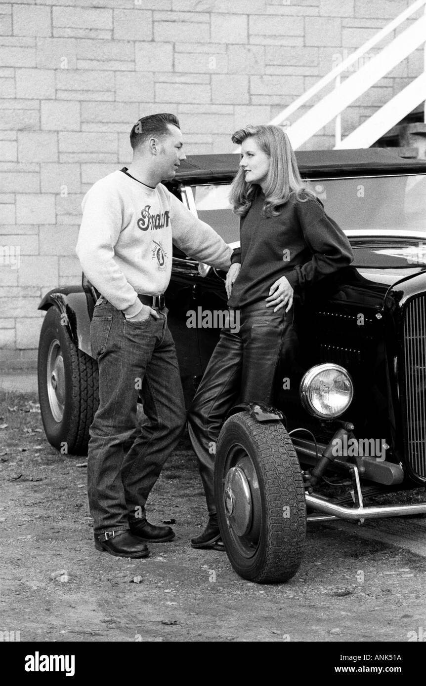 Couple Dressed In 1950s Fashion Stand By Their 1930s Roadster At Hemsby Rock N Roll Retro Festival 1993
