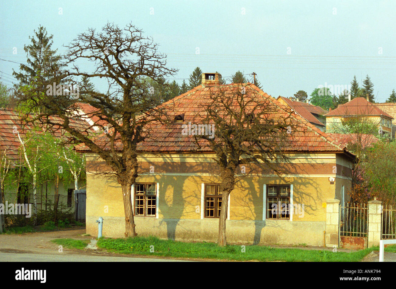 In the Tokaj village Mad: a typical Hungarian house in the also typical yellow colour. Stock Photo