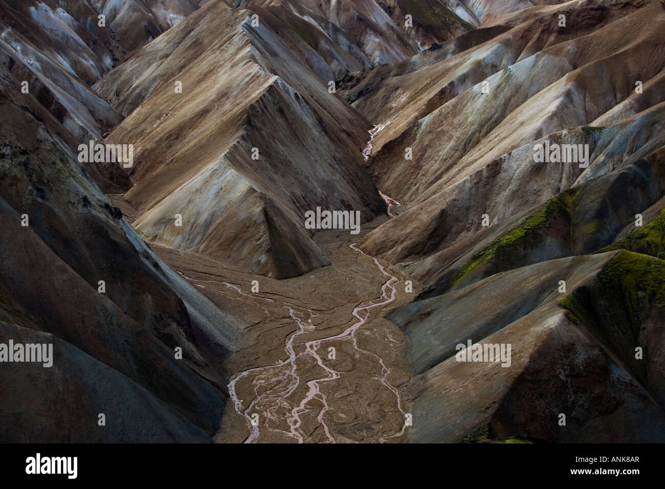 Aerial photo of mountains in Iceland - Stock Image