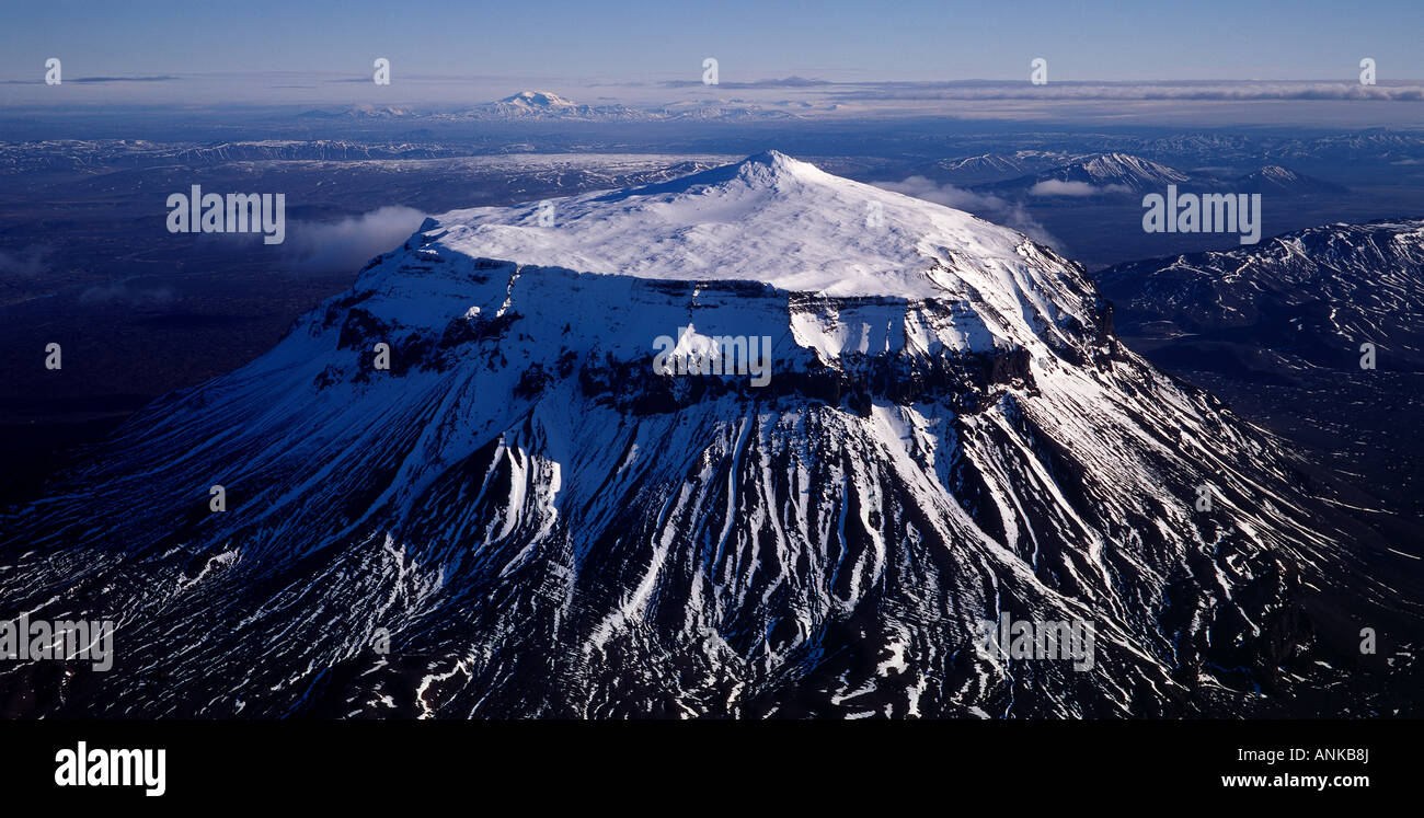 From the highlands of Iceland the mountain Herdubreid - Stock Image
