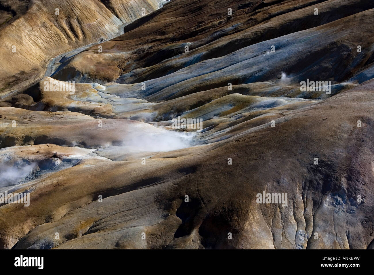 Aerial photo of geothermal areas in the mountains of Iceland - Stock Image