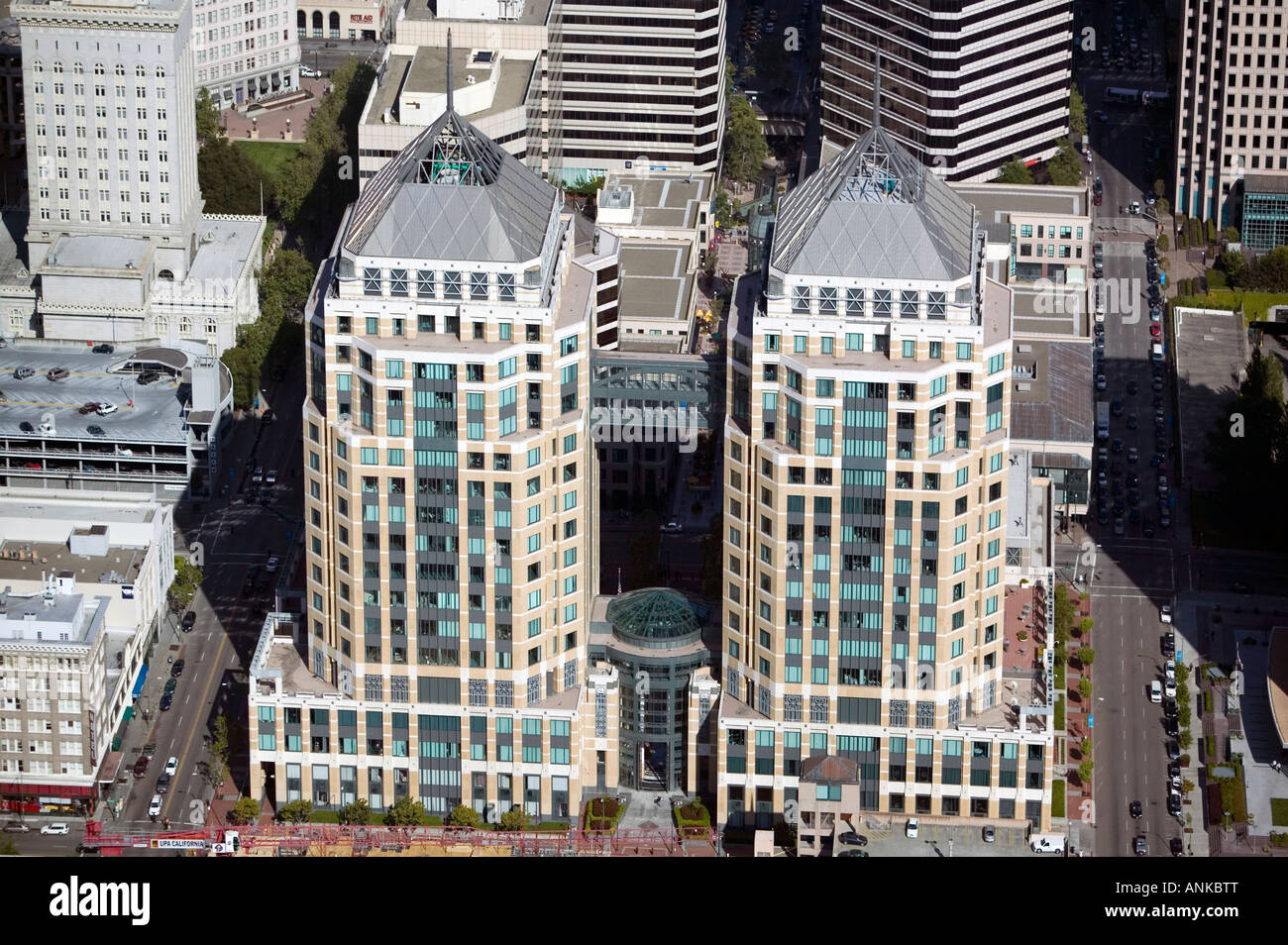 aerial above Oakland Federal buildings, downtown Oakland California - Stock Image