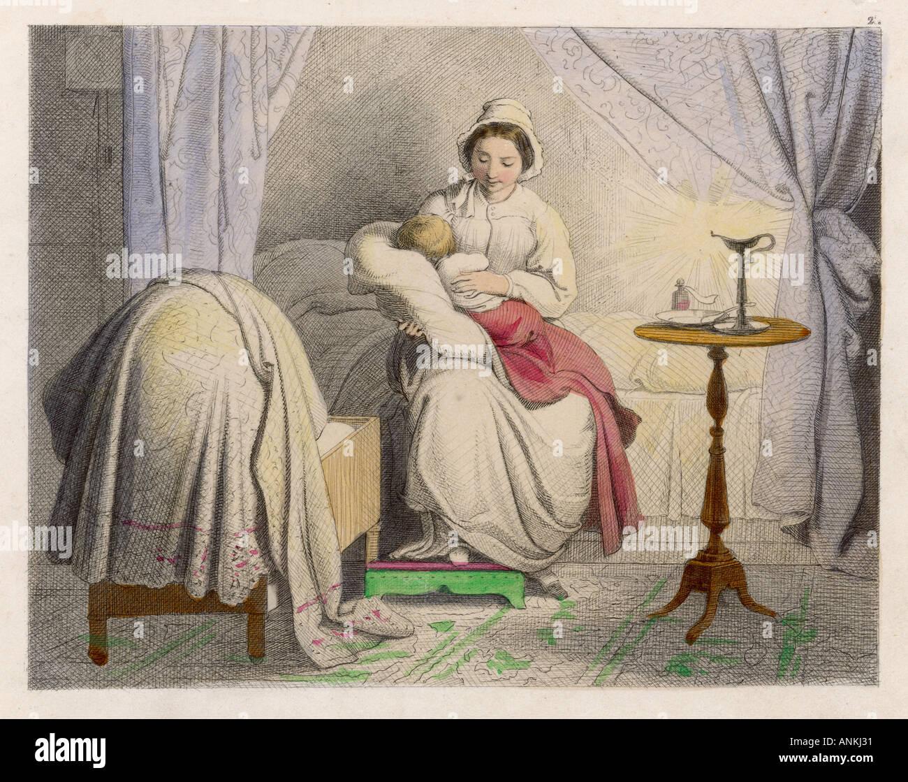 Sleeping On Mothers Lap - Stock Image