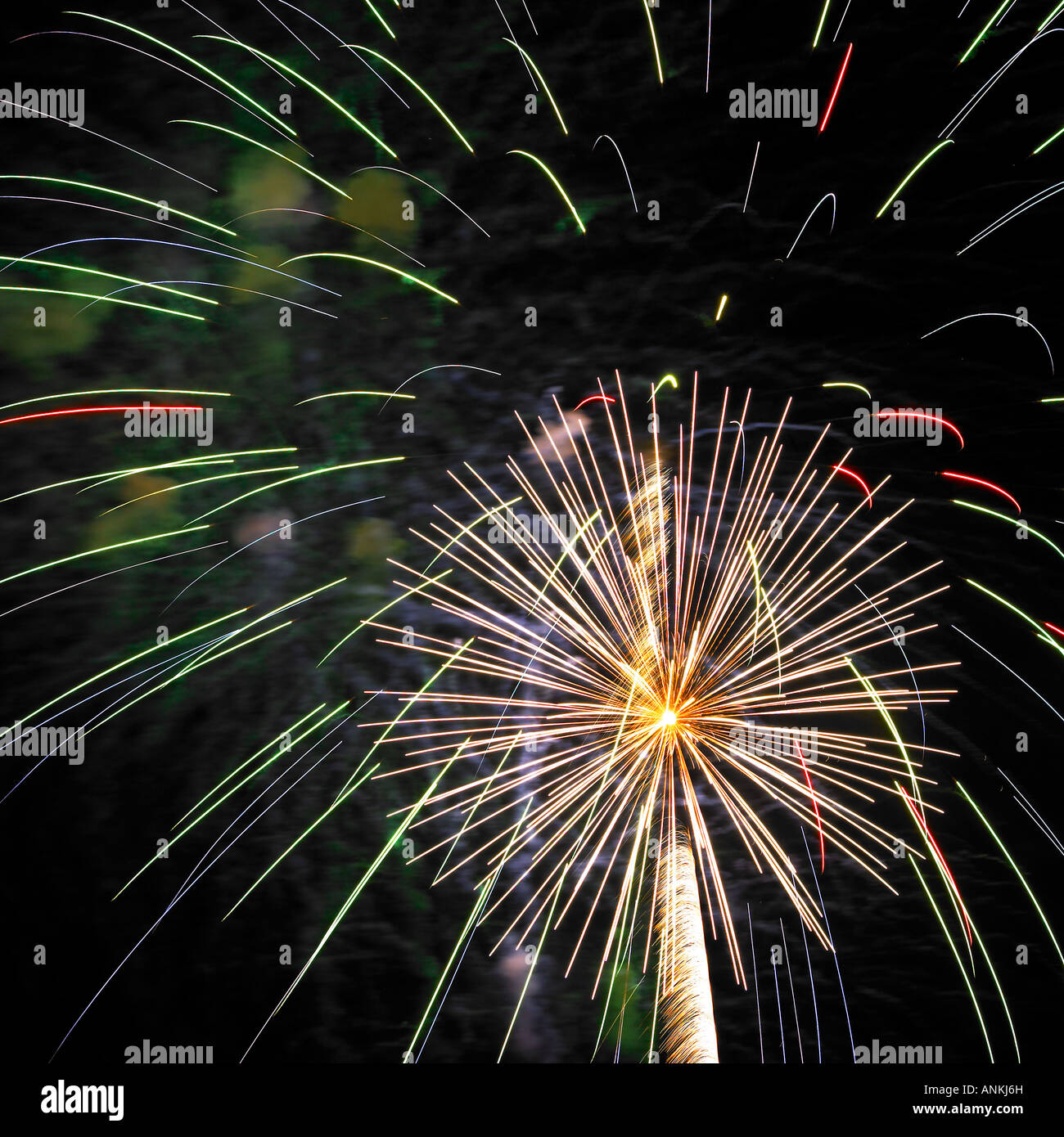 Firework burst-off high at the night sky - Stock Image
