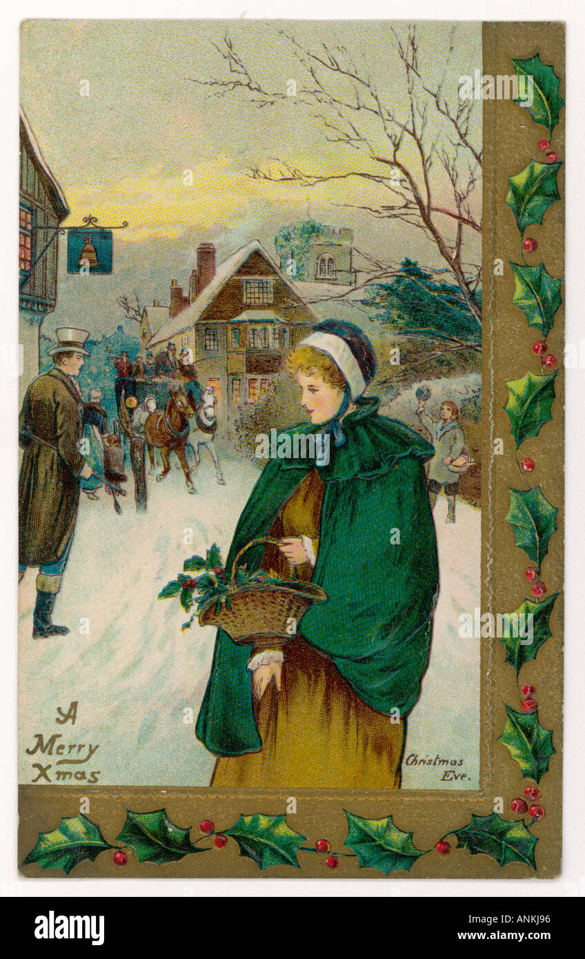 Lady In Wintry Street - Stock Image