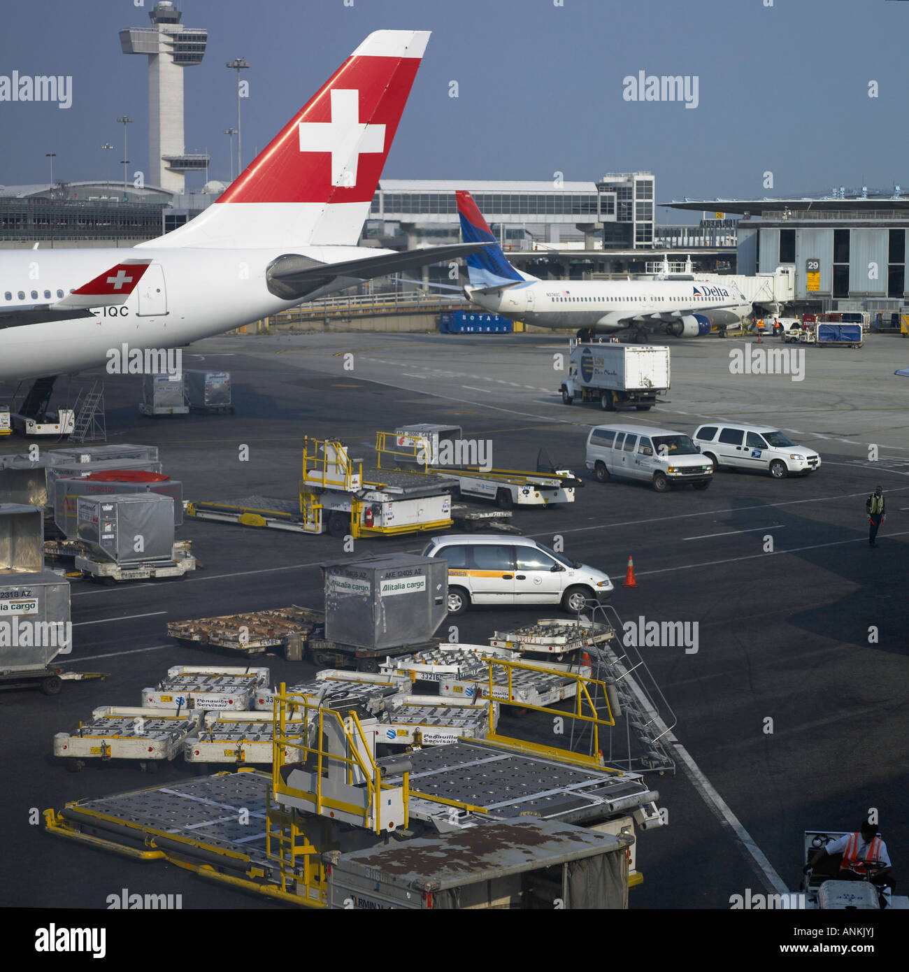 Departure terminal view at large airport - Stock Image