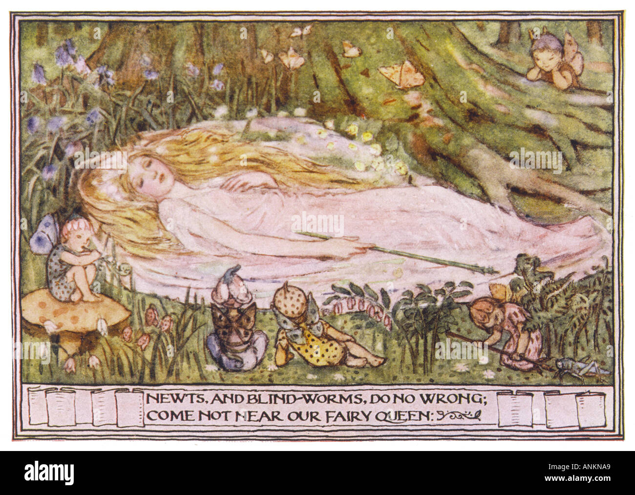 Fairies And Sleeper - Stock Image