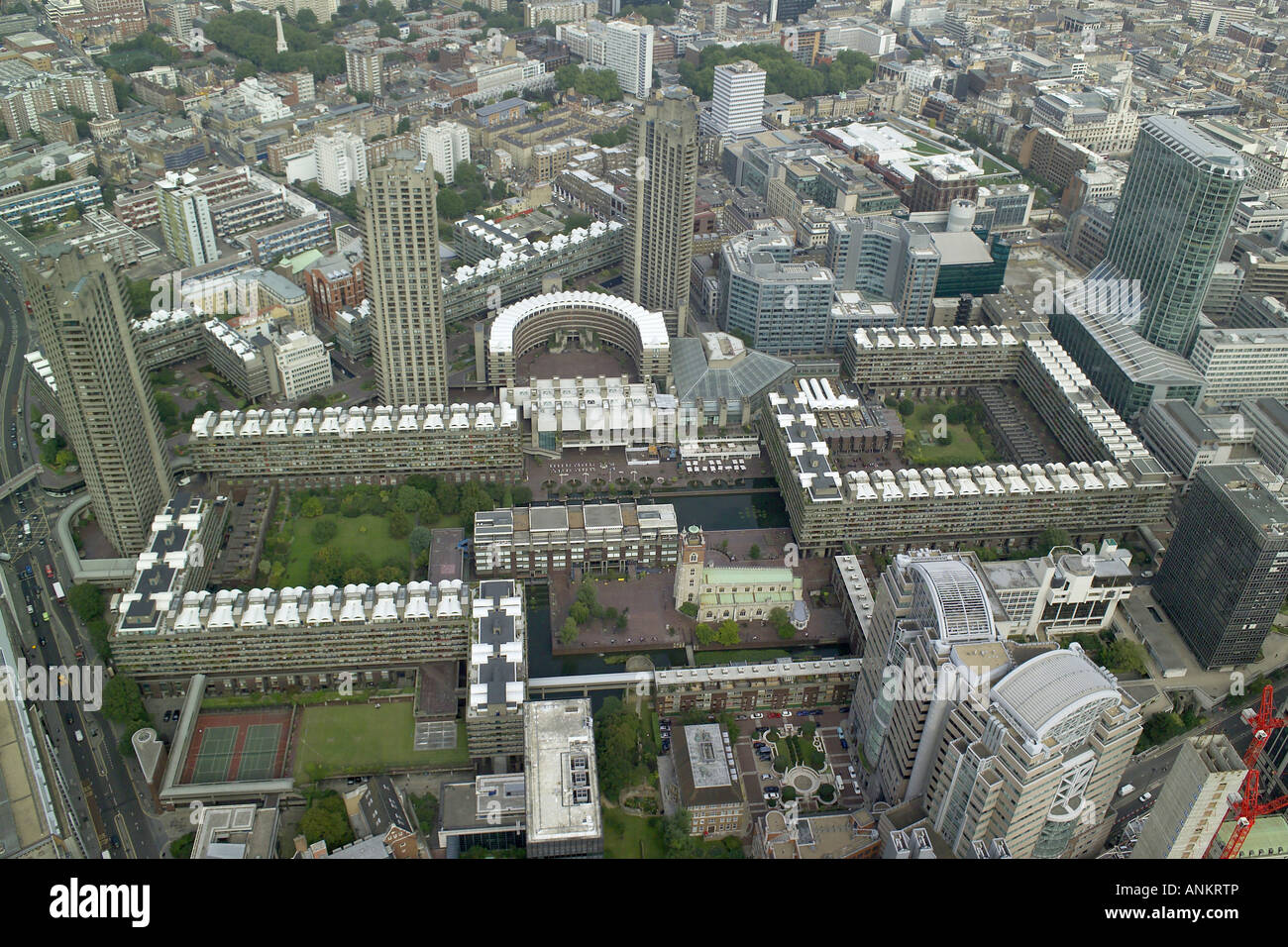 Aerial view of London's Barbican Arts and Conference Centre, featuring St Giles's Church and the City of London Stock Photo