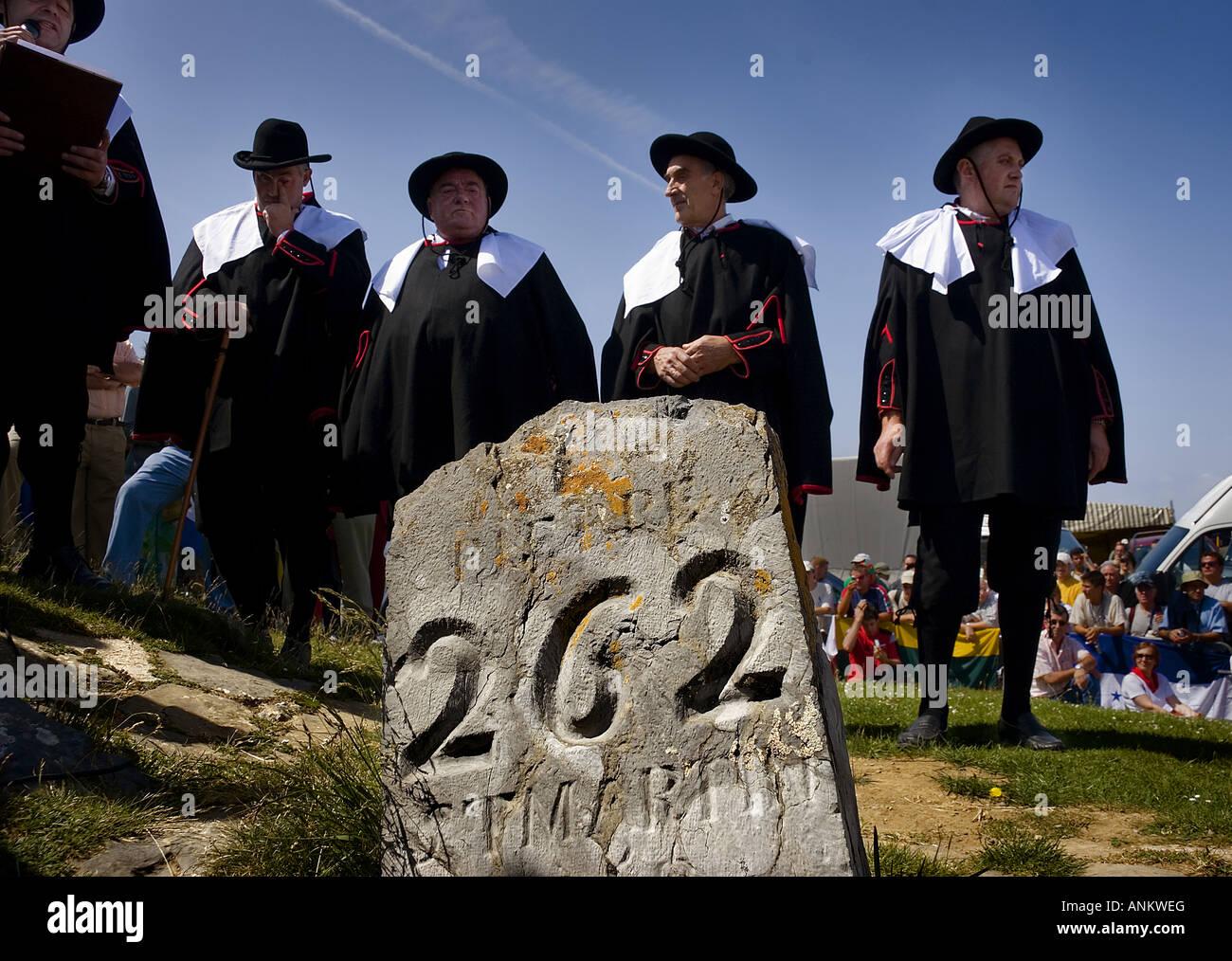 San Martin stone Tributo de las tres vacas festival Navarra Spain - Stock Image