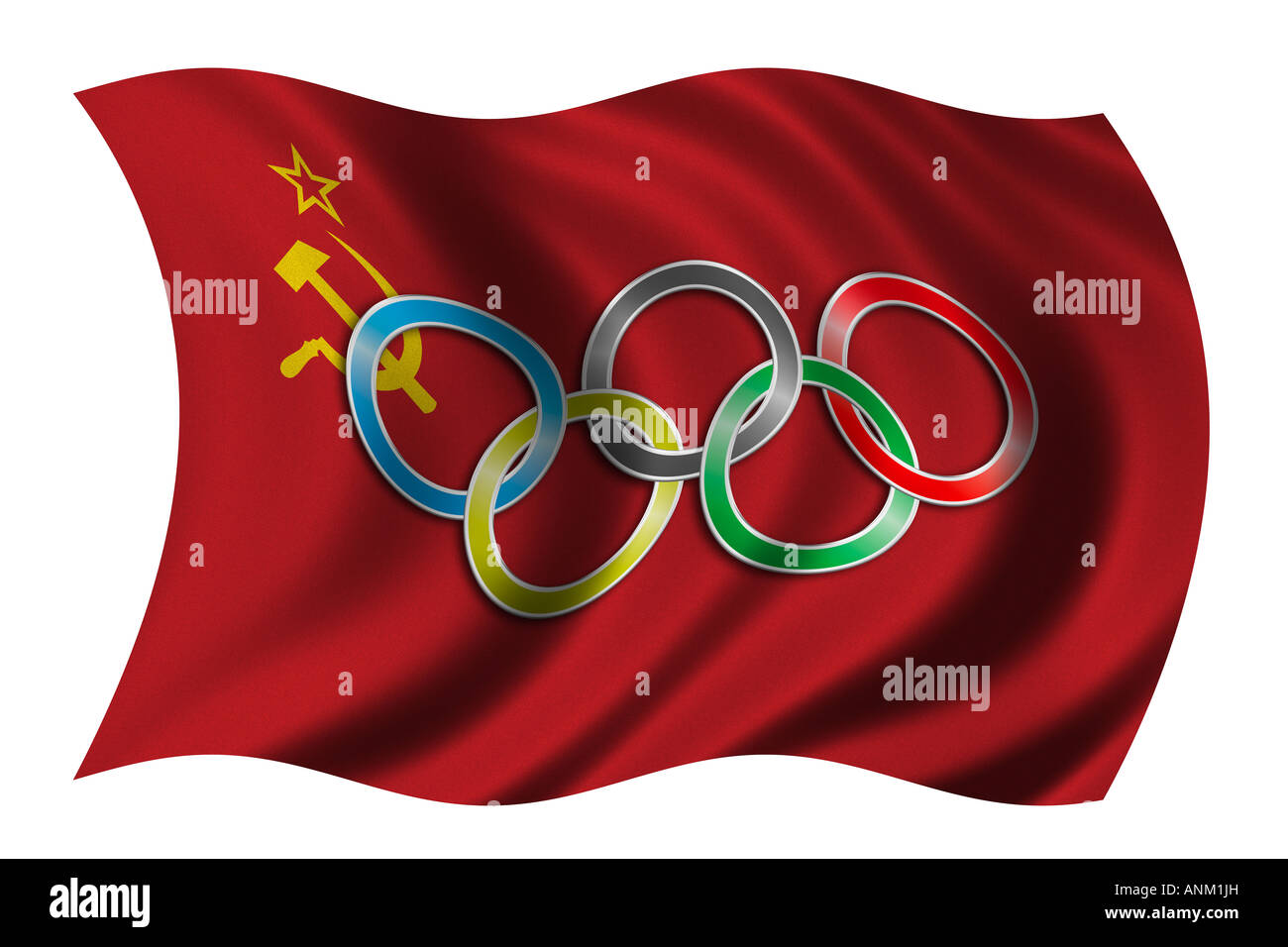 Flag of Soviet Union with olympic symbol - Stock Image