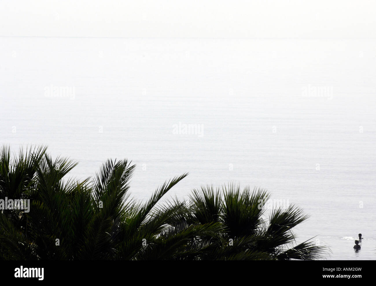 mediterranean sea two people figures palm trees highkey cyprus travel tourism landscape horizontal bright summer - Stock Image