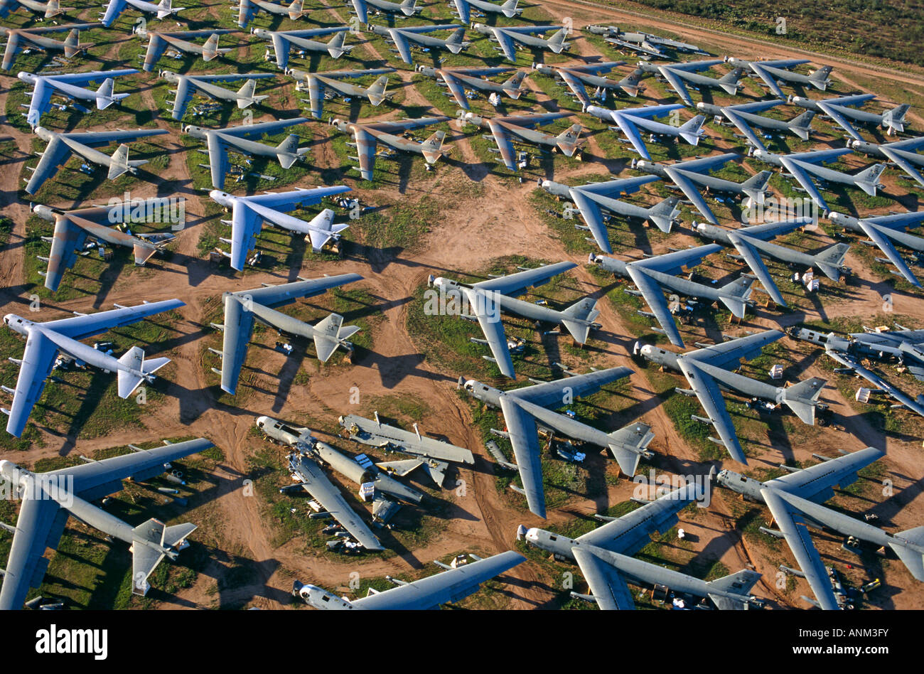 B-52 Cold War bombers of the US Air Force lie abandoned at Davis Monthan aircraft graveyard awaiting recycling for - Stock Image