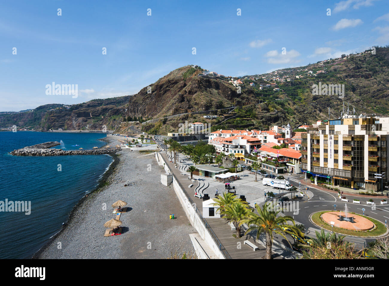 Town Beach and Seafront, Ribeira Brava, South Coast, Madeira, Portugal - Stock Image