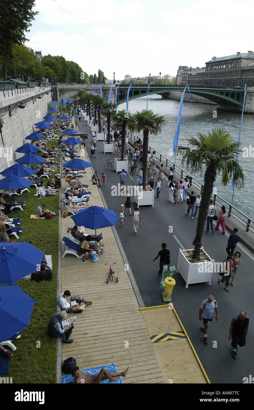 An artificial Beach set up along the Seine River in Paris, France. Stock Photo