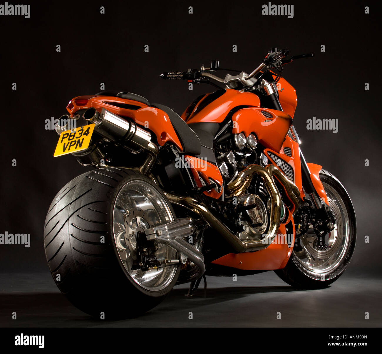Bright Orange Yamaha V Max Vmax Bike Custom Cruiser Chopper Stock