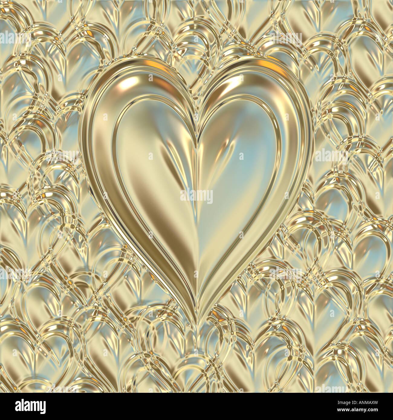 big bright beautiful golden metallic heart on golden background - Stock Image