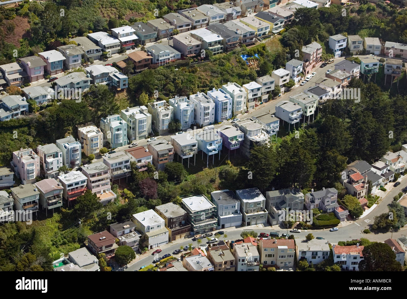 aerial San Francisco row rows house houses - Stock Image