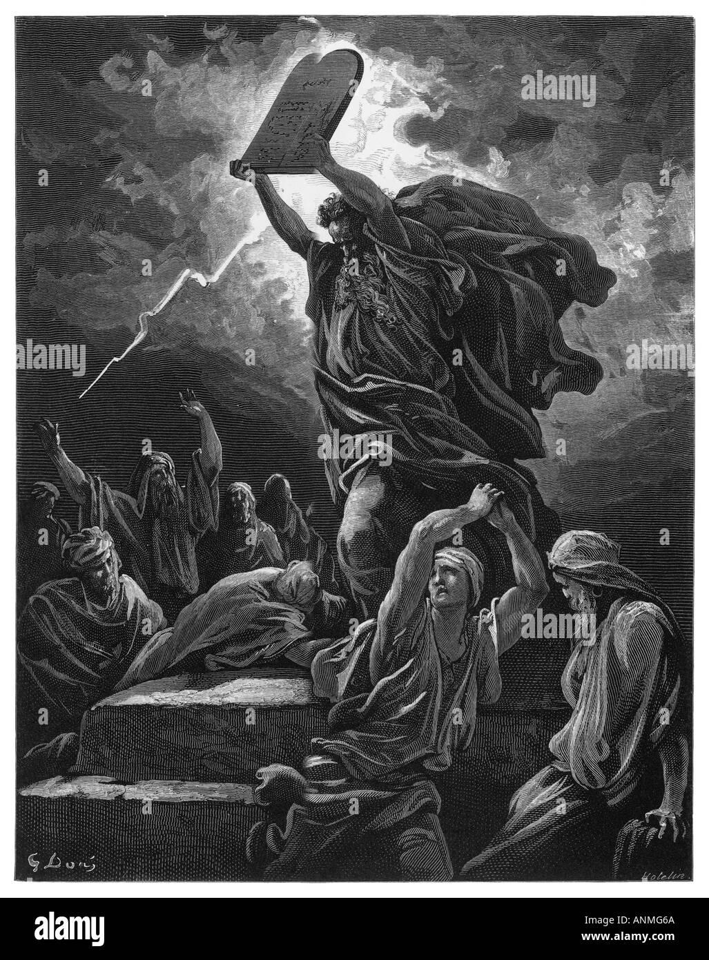 Moses 10 Commandments - Stock Image