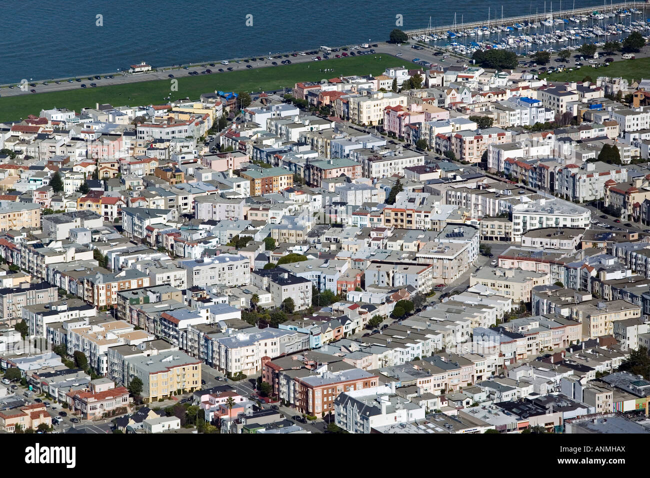 aerial above San Francisco Marina district Fillmore St Divisadero marina green - Stock Image