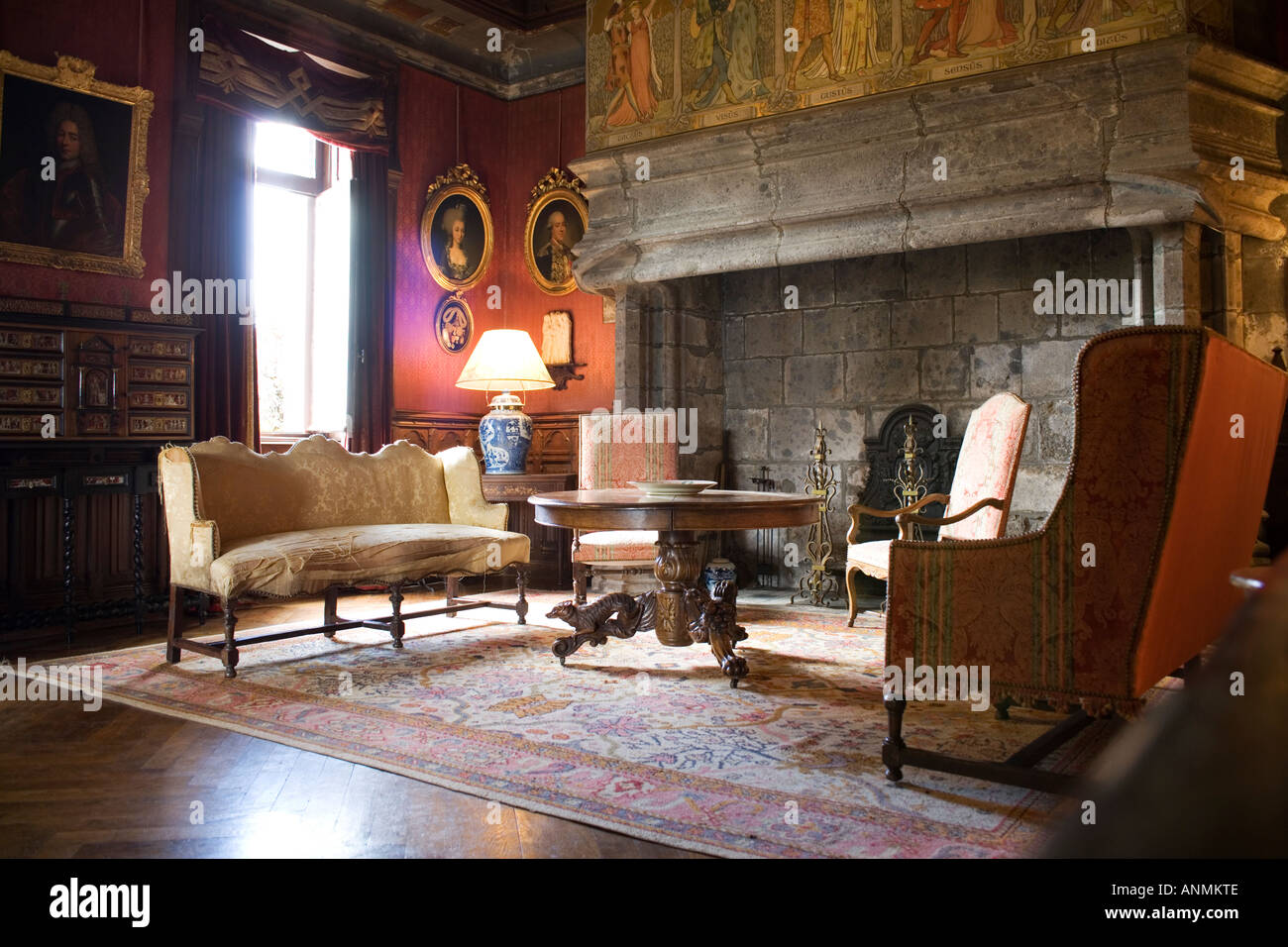 Old Castle Sitting Room With Hearth Fireplace Stock Photo