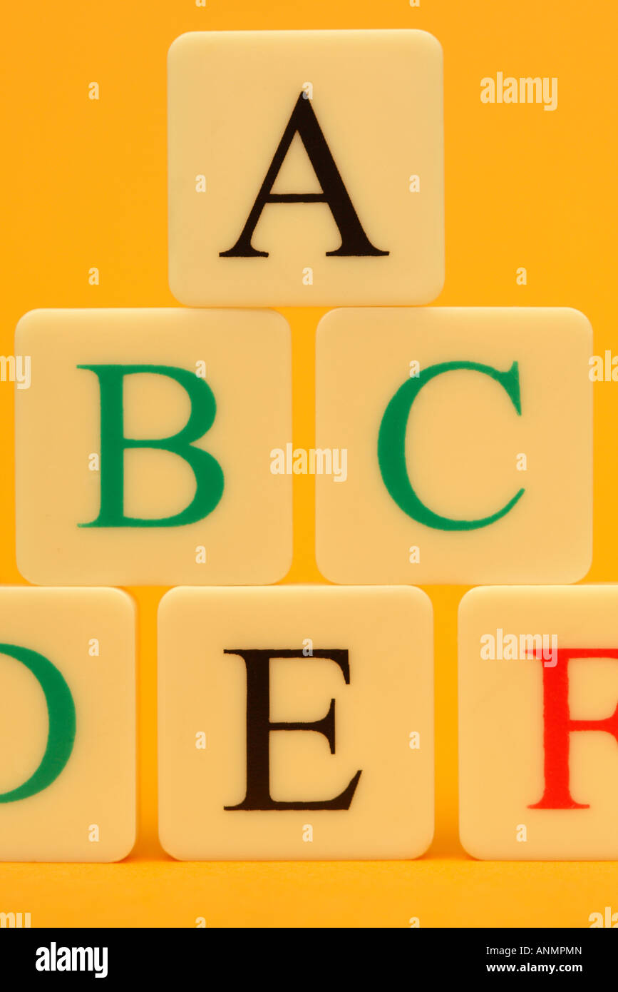 ABC alphabet letter tile order stack tower Stock Photo: 15562196 - Alamy