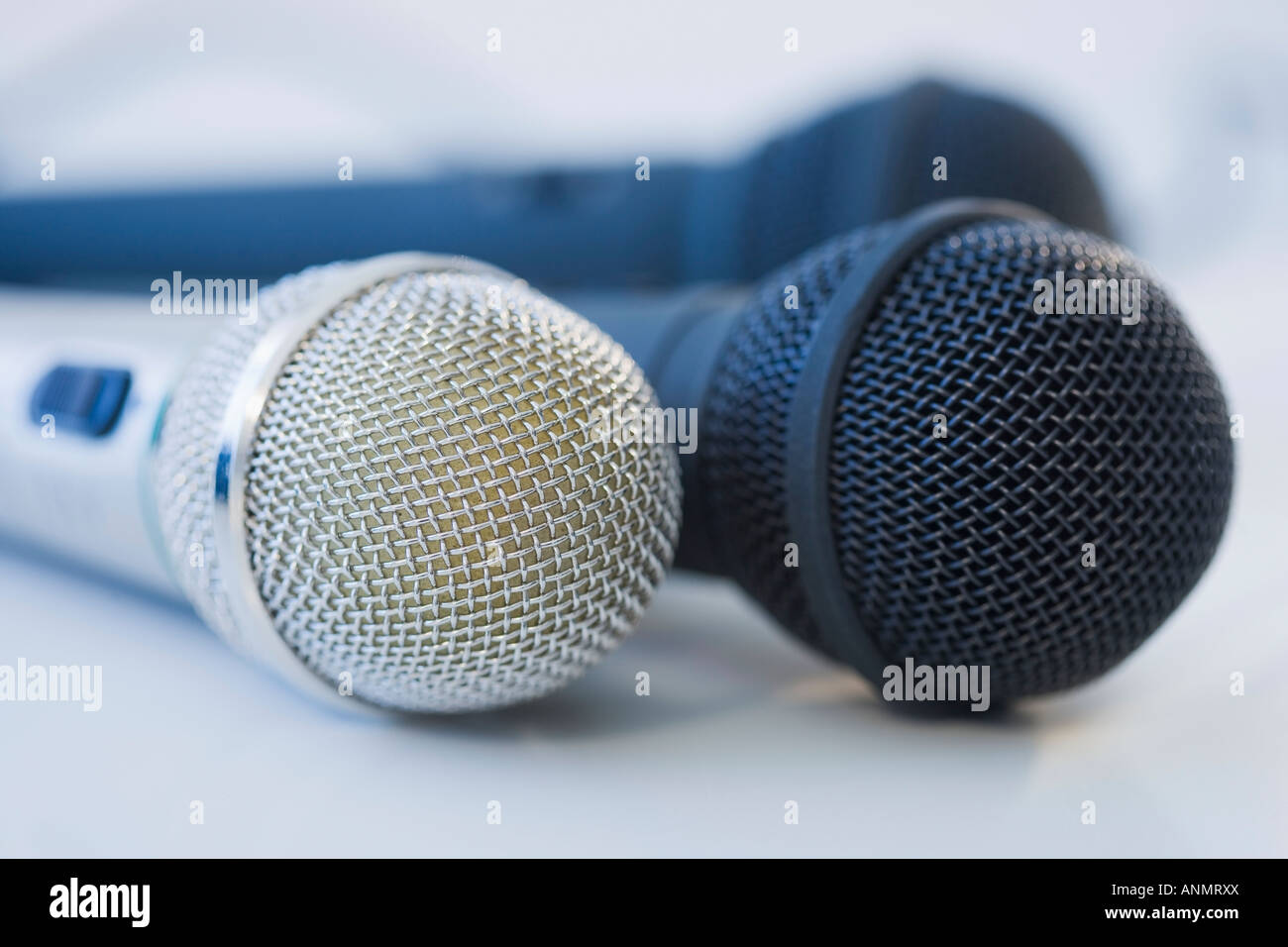Close up of microphones - Stock Image