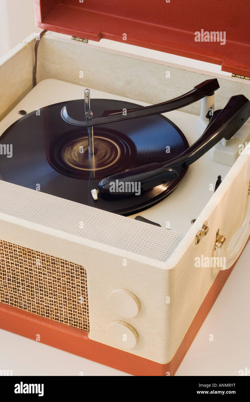 Close up of old fashioned record player - Stock Image