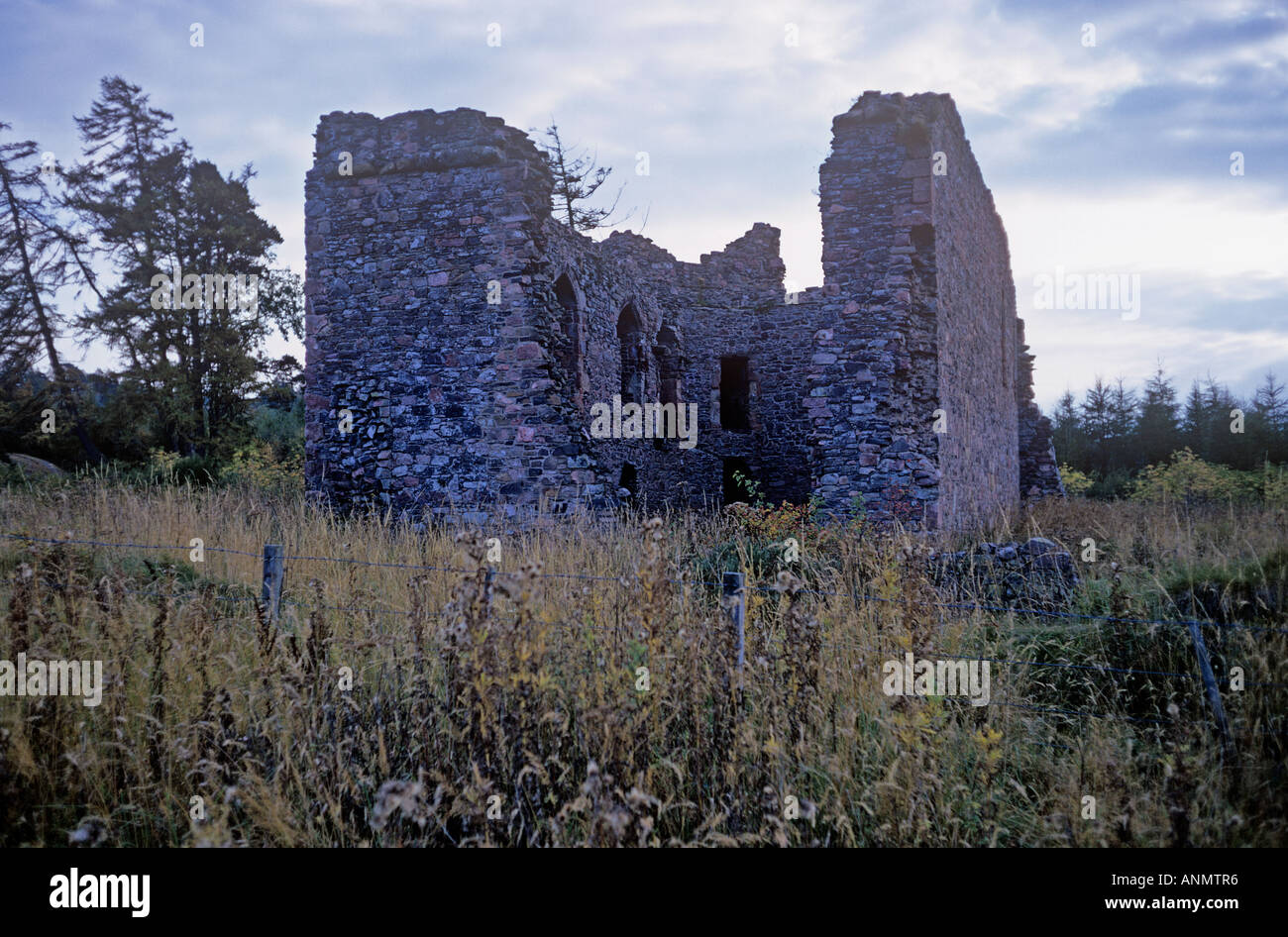 Rait Castle 3 miles south of Nairn East of Inverness Haunted by the ghost of a girl in a bloodstained dress - Stock Image