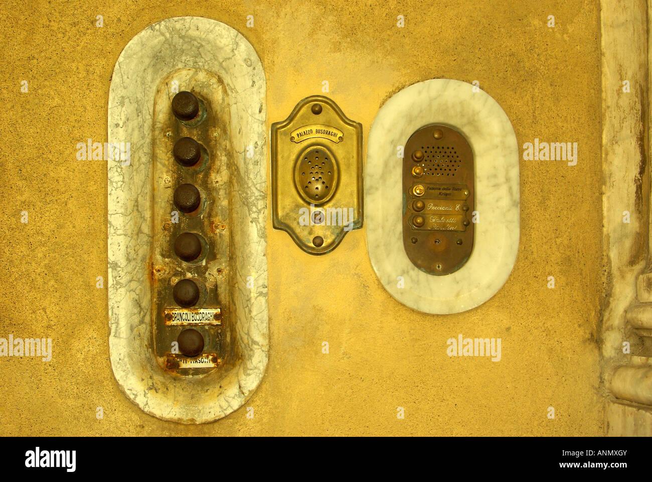 Old brass door buzzers and intercom in Lucca Tuscany Italy - Stock Image & Brass Door Ringer Stock Photos \u0026 Brass Door Ringer Stock Images - Alamy