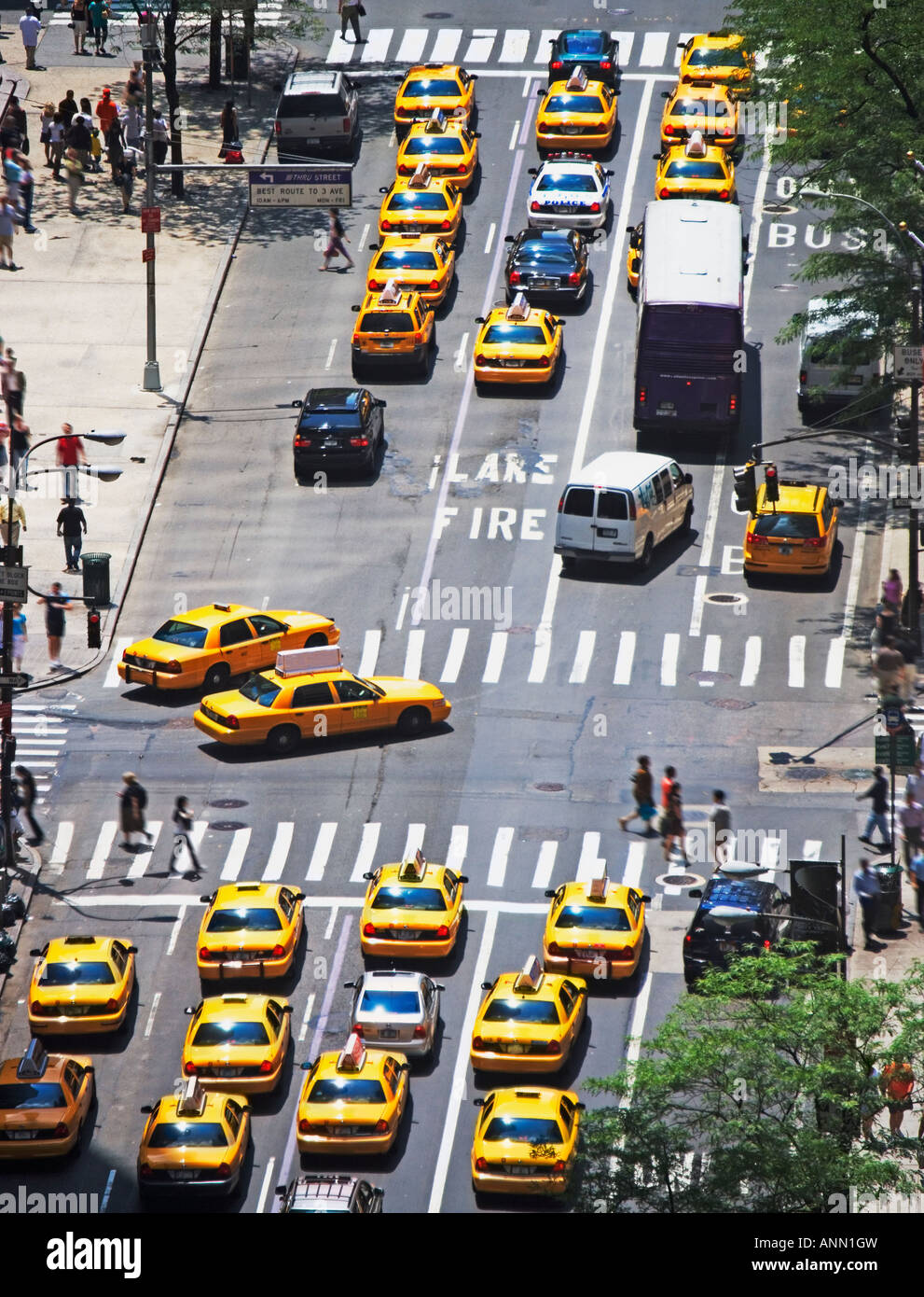 Taxis on 5th Avenue, New York City - Stock Image