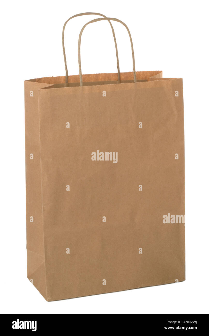 Shopping bag made from brown recycled paper Add your own design or logo - Stock Image