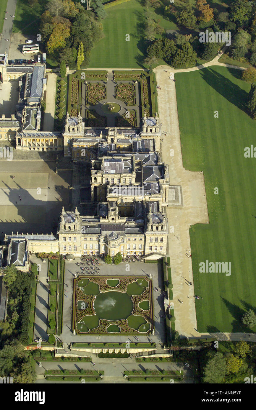 Aerial view of Blenheim Palace with it's formal gardens near Woodstock in Oxfordshire, once home to Winston Churchill Stock Photo