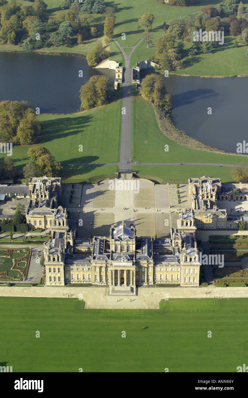 Aerial view of Blenheim Palace with it's lake and formal gardens near Woodstock in Oxfordshire, once home to Winston Stock Photo