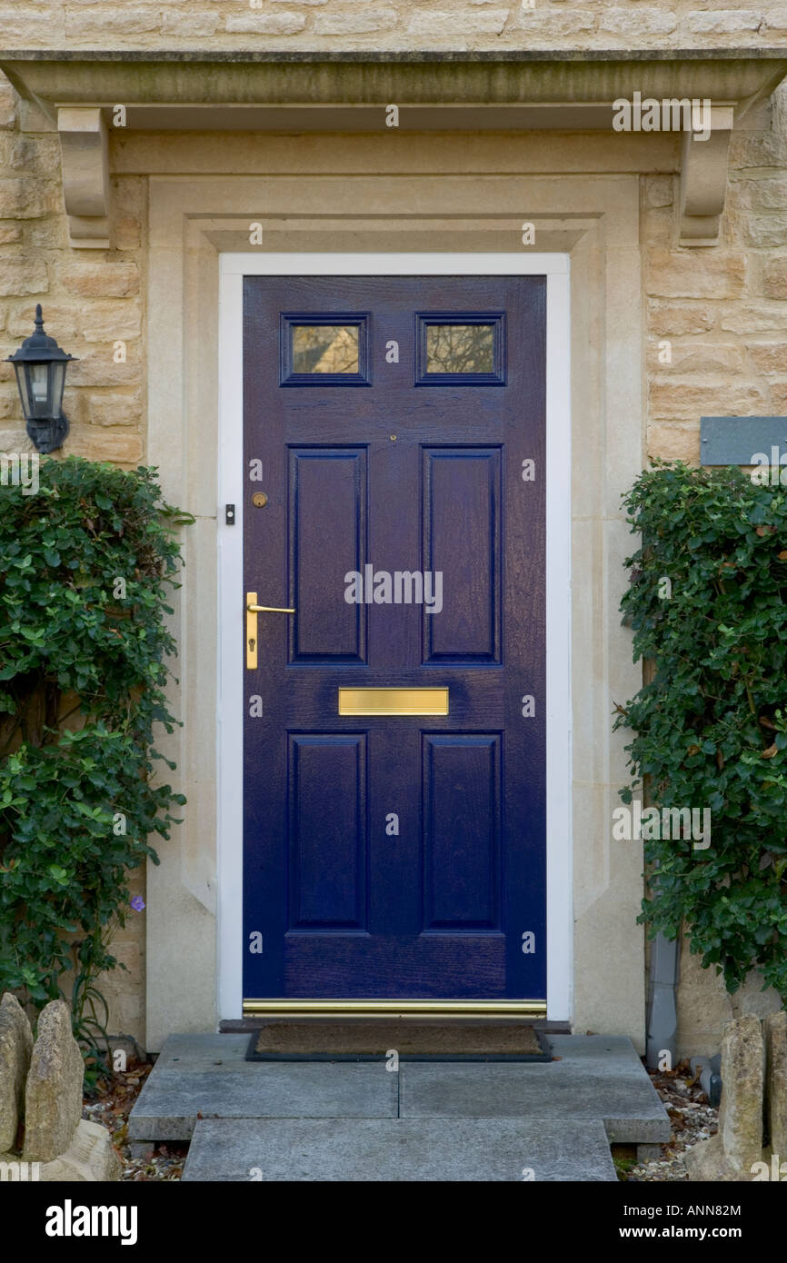 Uk Real Estate Modern Front Door Painted Blue Stock Photo Alamy