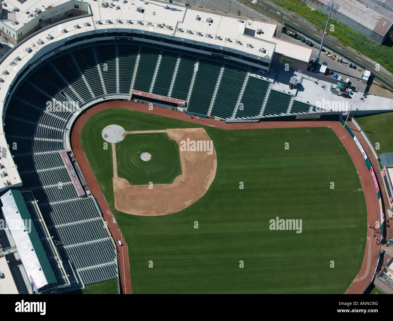 aerial view above Raley Field baseball stadium home of the Sacramento River Cats, Sacramento California USA from - Stock Image