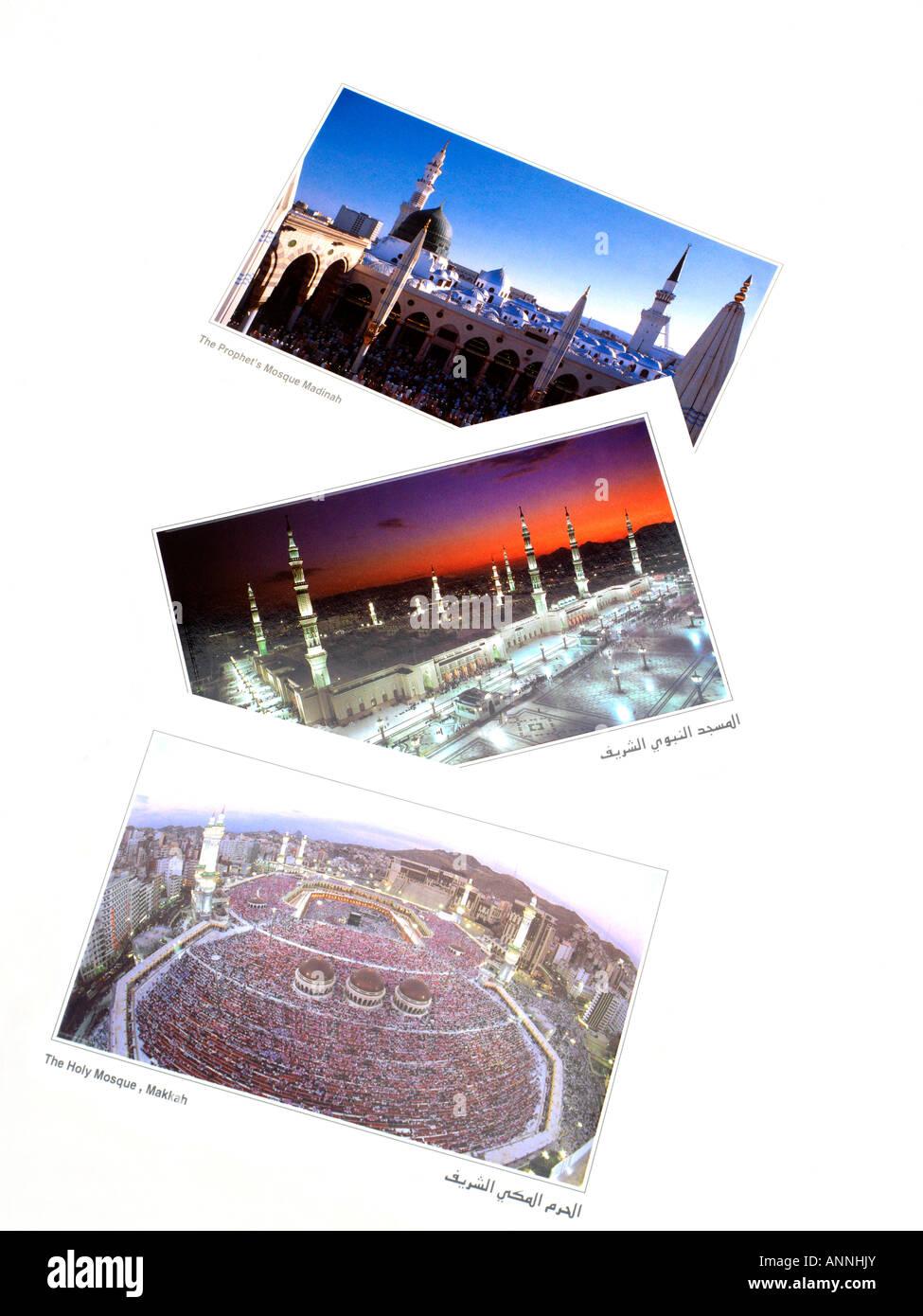 Postcards of Makkah & Medina Saudi Arabia Stock Photo