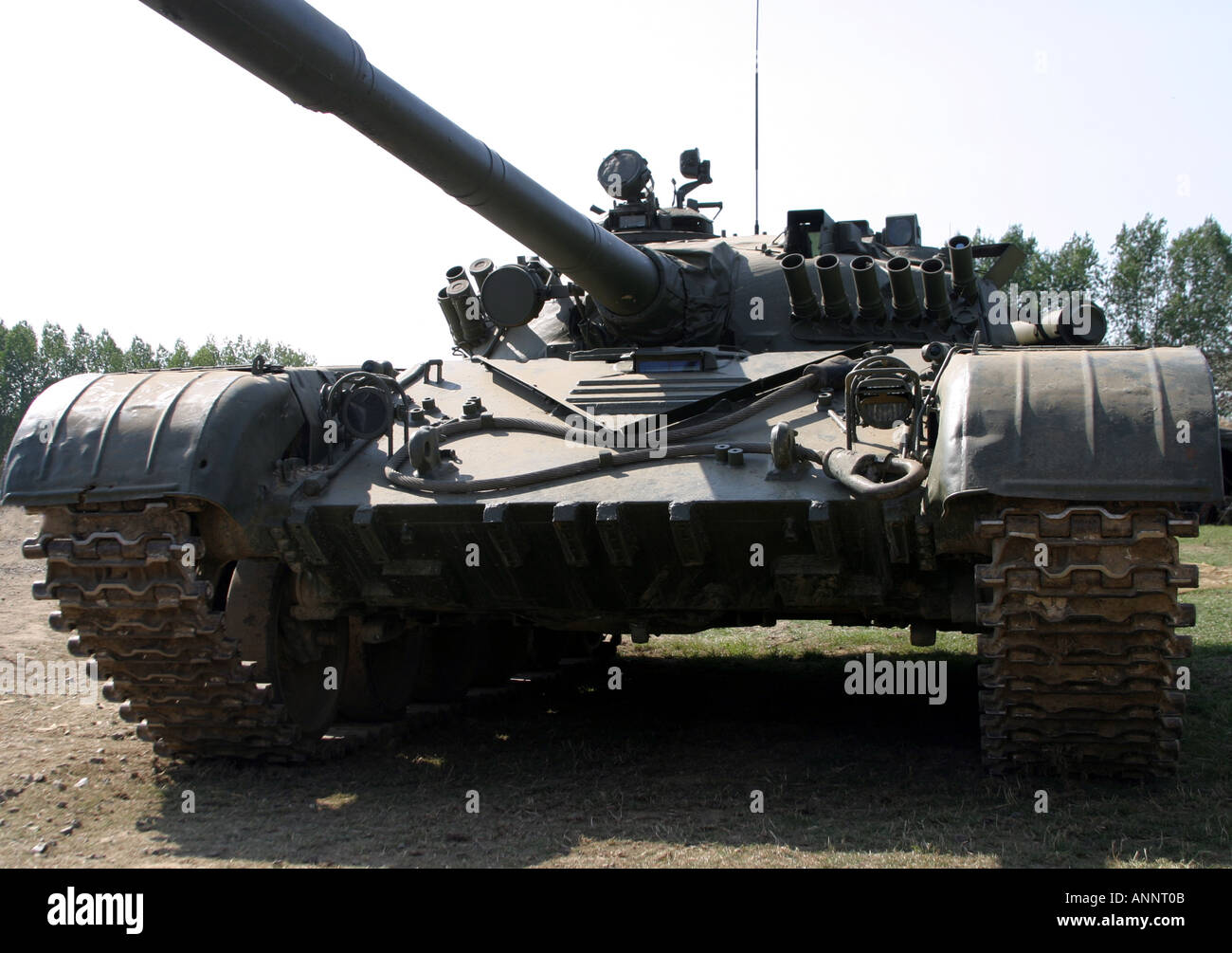 Russian army tank landscape - Stock Image