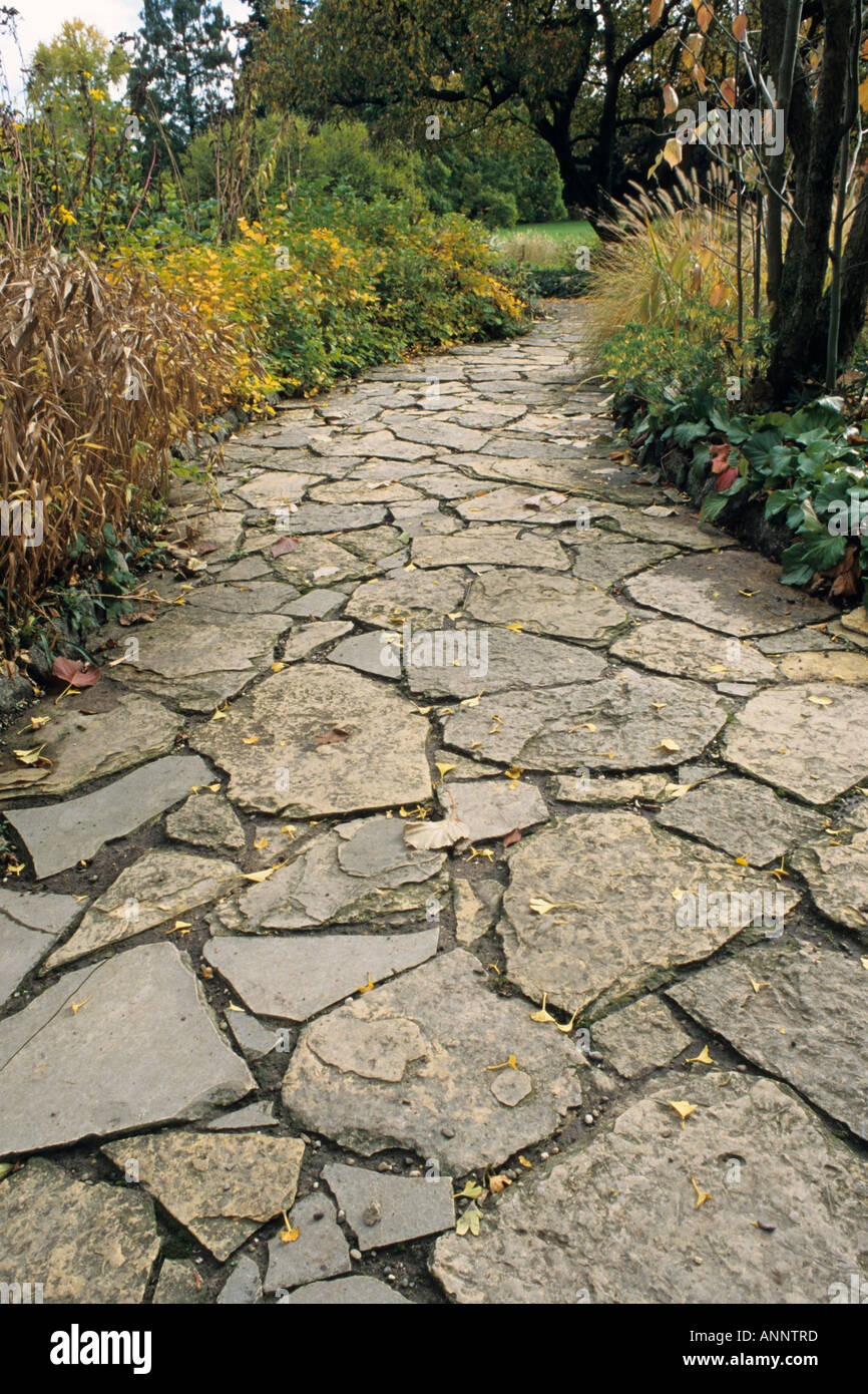 Garden pathway with stone slabs stock photo 8898428 alamy garden pathway with stone slabs workwithnaturefo