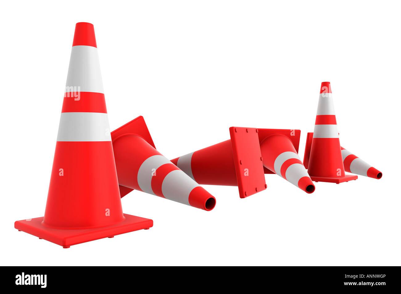 Fallen Orange traffic cones - Stock Image