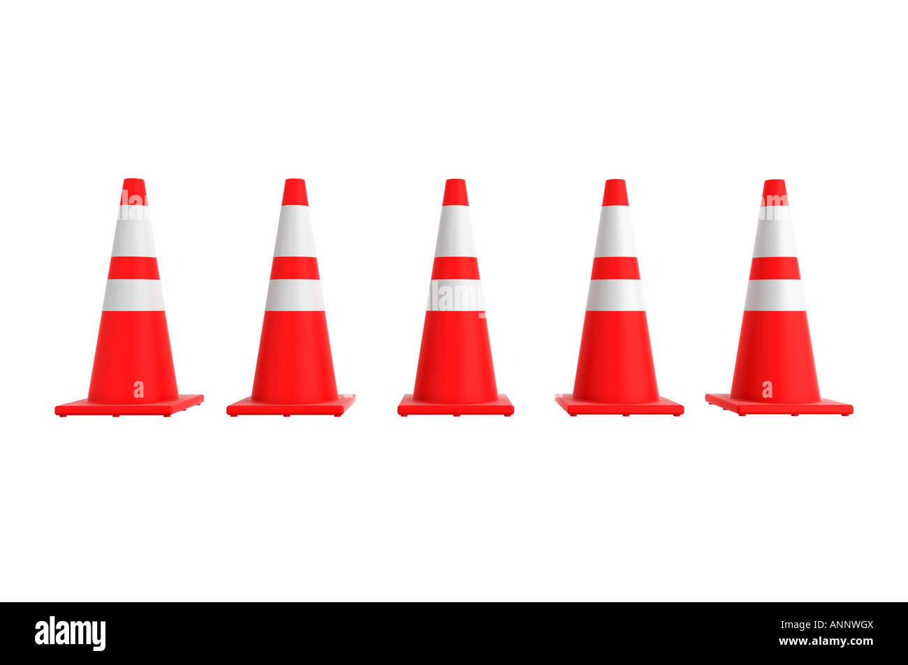 Orange traffic cone row - Stock Image