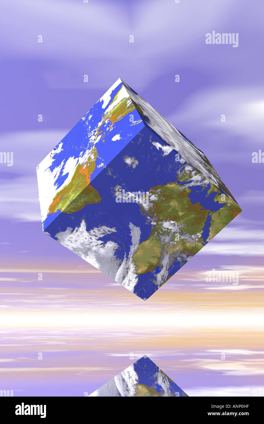 Cube World Map.Low Angle View Of A Cube With A World Map Pattern Stock Photo