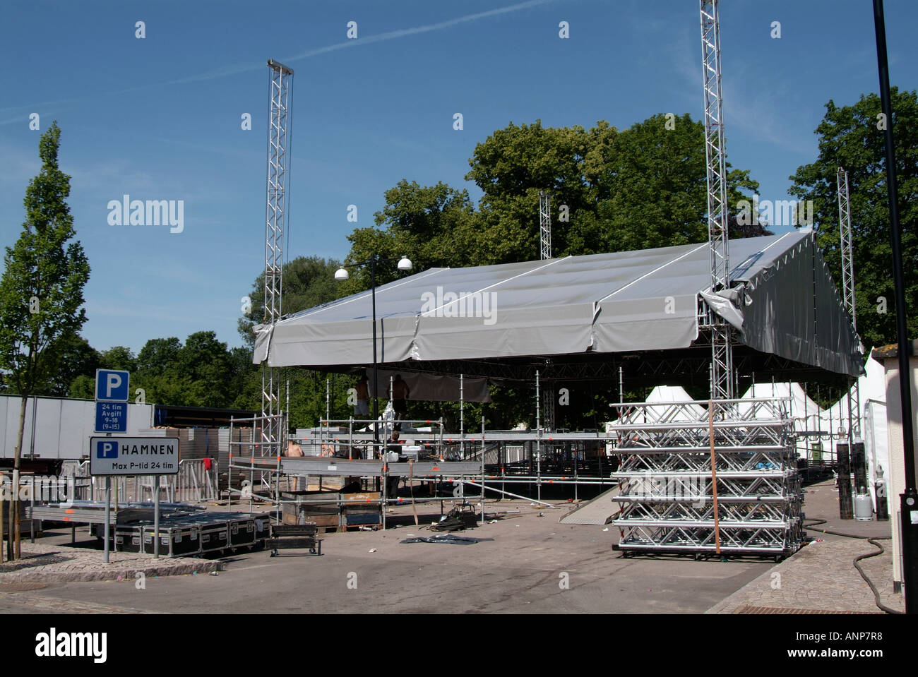 Roadies, roadie, rock, and, roll, lifestyle, music, dismantling, outdoor, stage, constructing, concert, music, - Stock Image