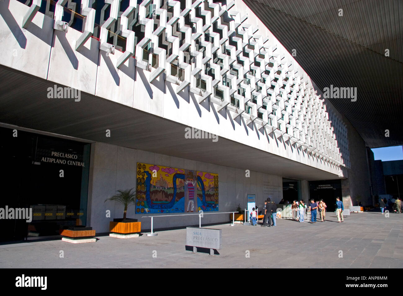 The interior of the front entrance to the National Museum of Anthropology in Mexico City Mexico - Stock Image