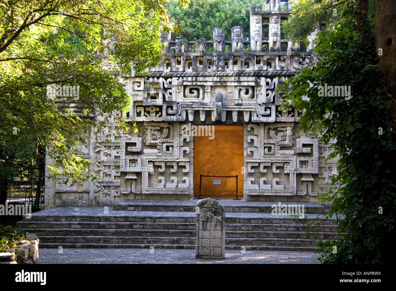 An Aztec ruin reconstructed at the National Museum of Anthropology in Mexico City Mexico - Stock Image